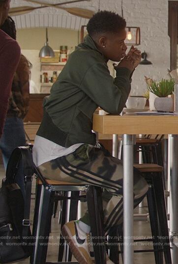 Tamia's camo print pants on All American