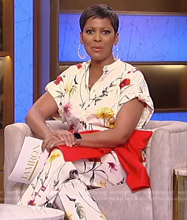 Tamron's white floral jumpsuit on Tamron Hall Show