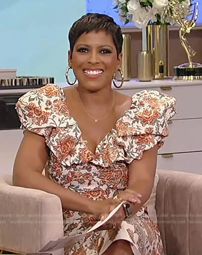 Tamron's floral ruffle v-neck dress on Tamron Hall Show