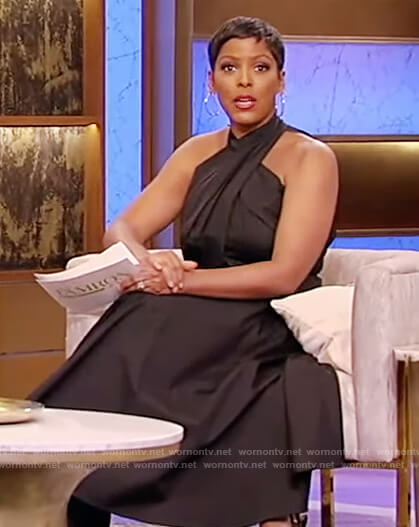 Tamron's black cross neck dress on Tamron Hall Show