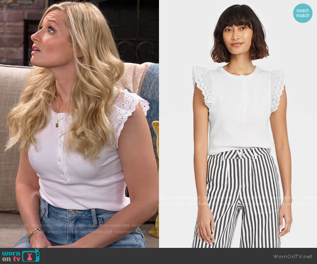 Target Who What Wear Eyelet Ruffle Sleeve Tank Top worn by Gemma (Beth Behrs) on The Neighborhood