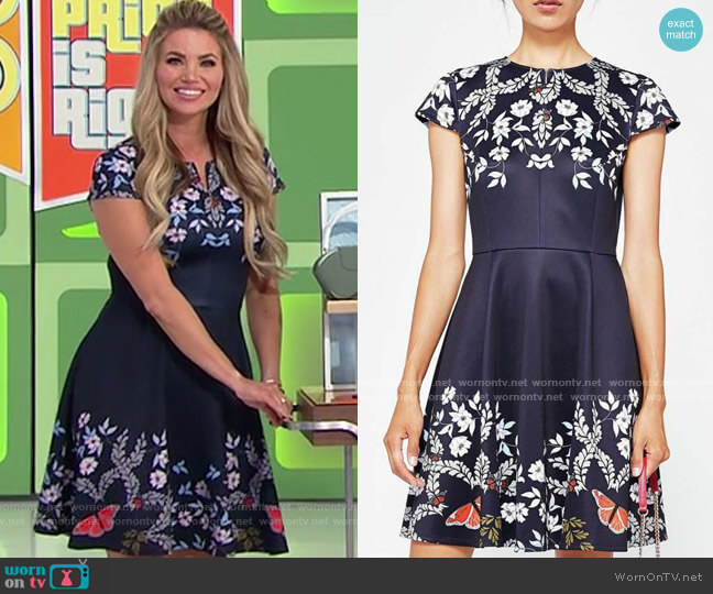 Ted Baker Saydi Kyoto Gardens Skater Dress worn by Amber Lancaster  on The Price is Right
