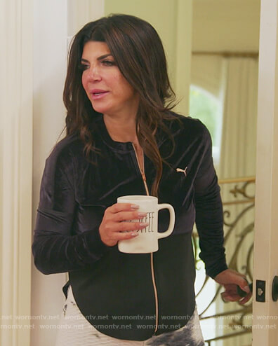 Teresa's black velvet jacket and tie dye leggings on The Real Housewives of New Jersey