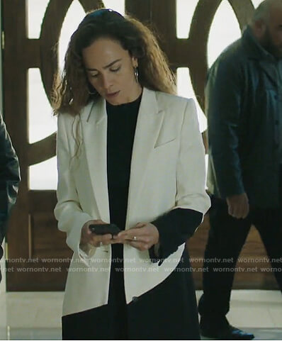 Teresa's white colorblock coat on Queen of the South