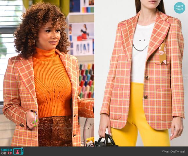 Fitted Tartan Jacket by The Gigi worn by Jade (Talia Jackson) on Family Reunion