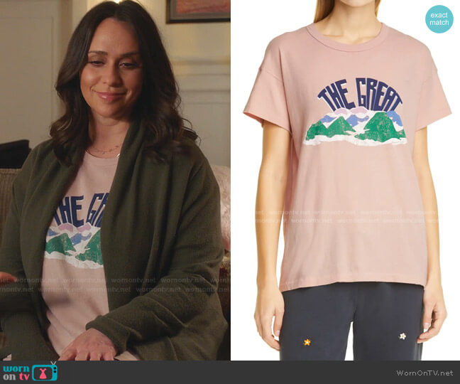 Mountain Side The Boxy Crew Graphic Tee by The Great worn by Maddie Kendall (Jennifer Love Hewitt) on 9-1-1