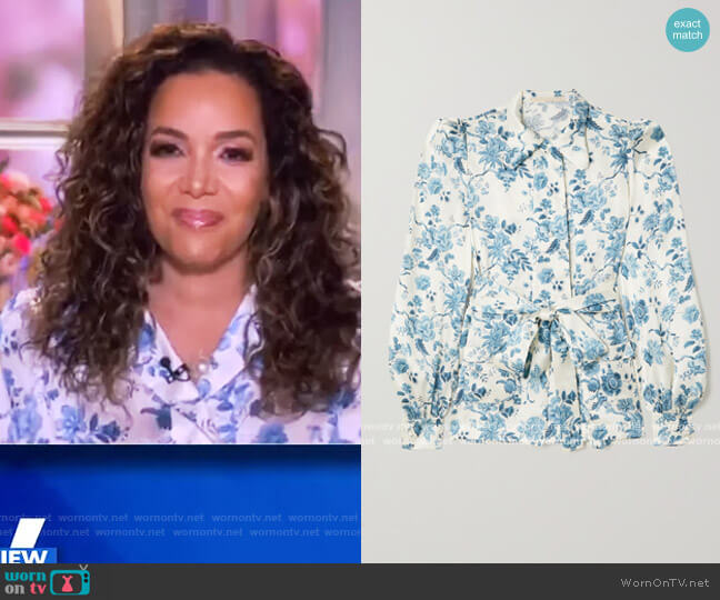 The Jannah belted floral-print silk-satin blouse by The Vampires Wife worn by Sunny Hostin  on The View