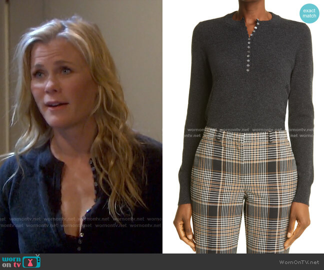 Cashmere Henley Sweater by Theory worn by Sami Brady (Alison Sweeney) on Days of our Lives