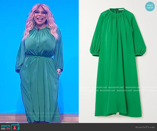 Gathered silk midi dress by Tibi worn by Wendy Williams  on The Wendy Williams Show