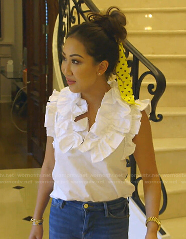 Tiffany's white ruffle poplin top on The Real Housewives of Dallas