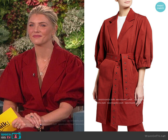 Lantern Cocoon Belted Coat and Pants by Toccin worn by Amanda Kloots  on The Talk