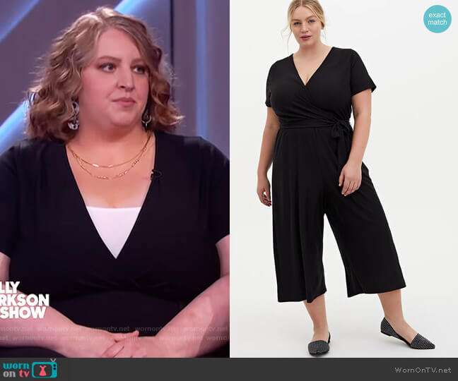 Black Textured Knit Surplice Jumpsuit by Torrid worn by Christy Oxborrow on The Kelly Clarkson Show