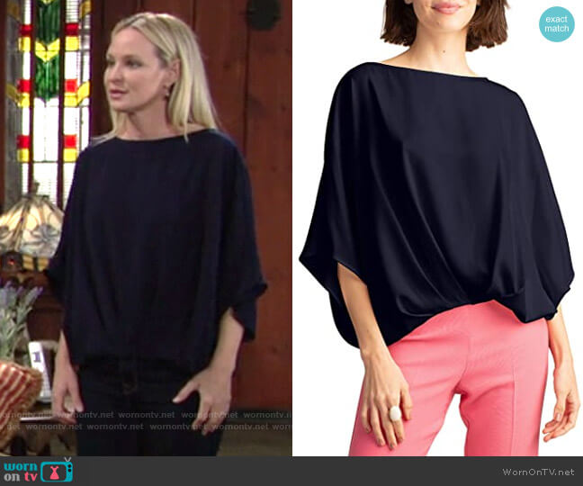 Trina Turk Coralline Top in Indigo worn by Sharon Collins (Sharon Case) on The Young & the Restless