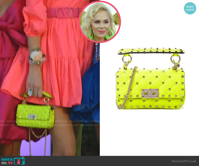 Calfskin Mini Rockstud Spike Shoulder Bag by Valentino worn by Kameron Westcott  on The Real Housewives of Dallas