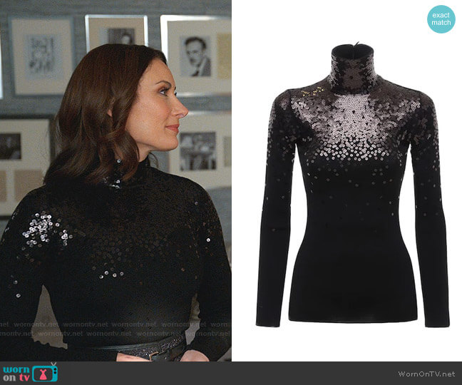 Sequinned Turtleneck Sweater by Valentino worn by Quinn (Laura Benanti) on Younger