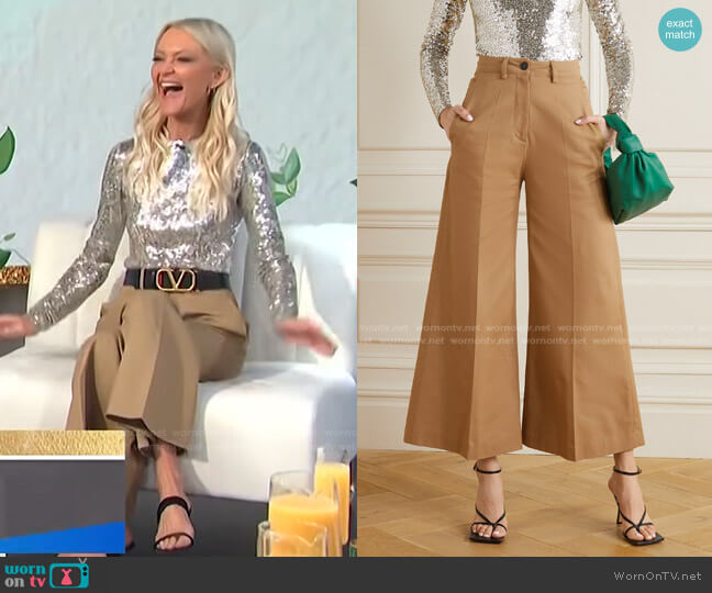 Pleated Cotton-Gabardine Wide-Leg Pants by Valentino worn by Zanna Roberts Rassi on E! News Daily Pop