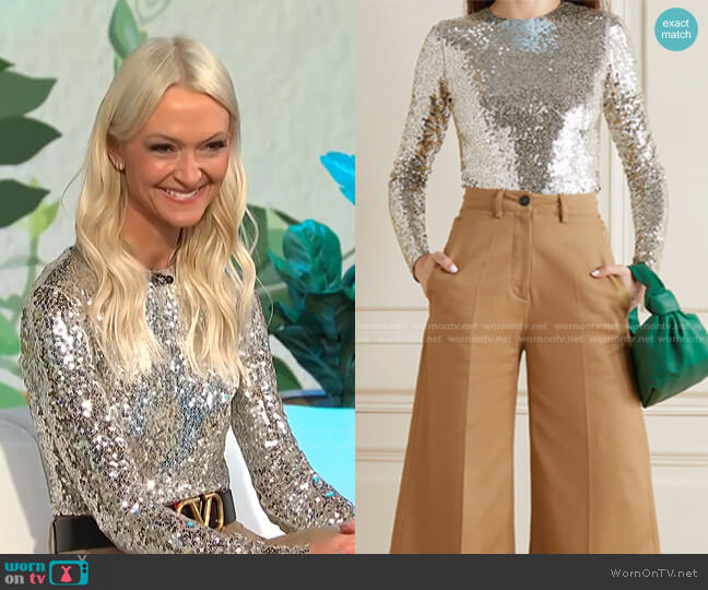 Sequined Jersey Bodysuit by Valentino worn by Zanna Roberts Rassi on E! News Daily Pop