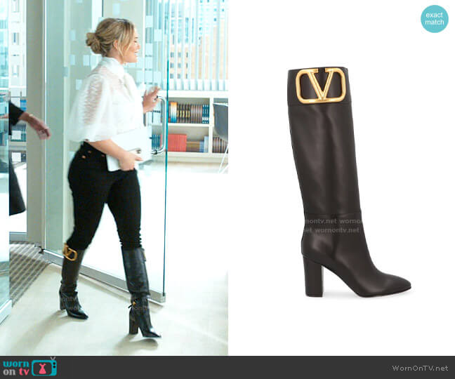 Valentino Logo Boots worn by Kelsey Peters (Hilary Duff) on Younger