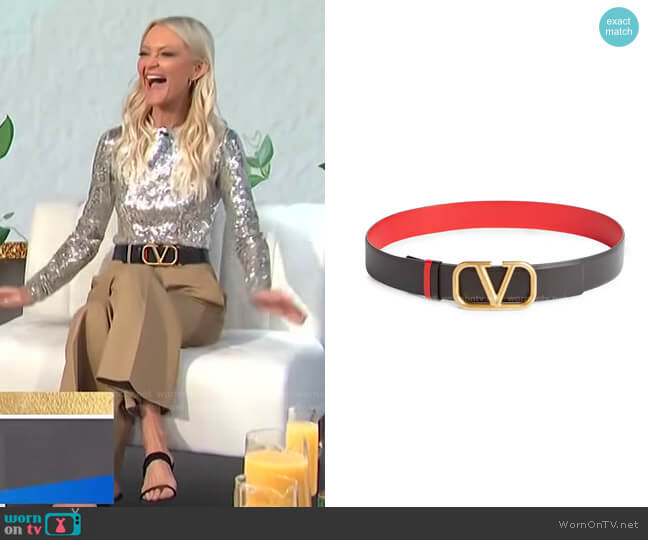 Garavani VLOGO Buckle Reversible Leather Belt by Valentino worn by Zanna Roberts Rassi on E! News Daily Pop