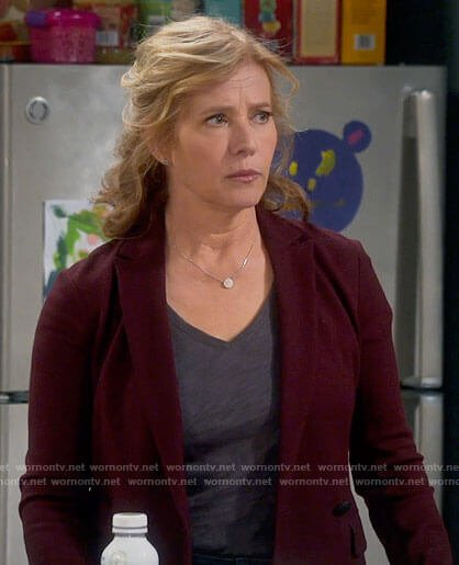 Vanessa's burgundy blazer on Last Man Standing