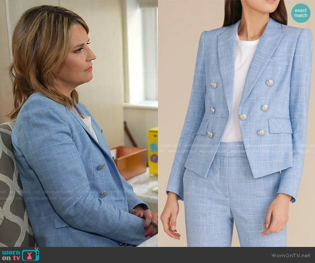 Diego Heathered Plaid Dickey Jacket by Veronica Beard worn by Savannah Guthrie  on Today