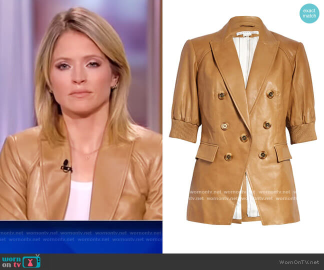 Edra Short Sleeve Leather Dickey Jacket by Veronica Beard worn by Sara Haines  on The View