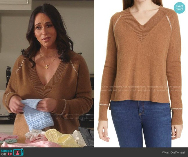 Preta V-Neck Cashmere Sweater by Veronica Beard worn by Maddie Kendall (Jennifer Love Hewitt) on 9-1-1