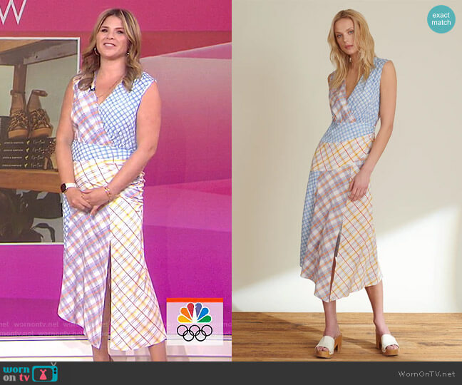 Wixson Mixed-Plaid Dress by Veronica Beard worn by Jenna Bush Hager  on Today