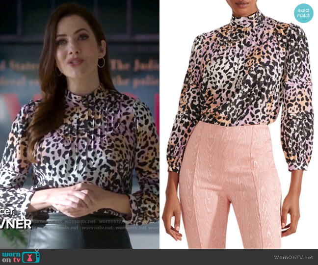 Veronica Beard Lety Cheetah Blouse worn by Andrea Rojas (Julie Gonzalo) on Supergirl