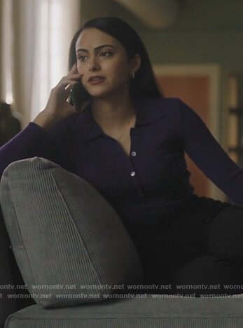 Veronica's purple knit polo on Riverdale