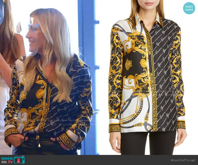 Barocco Gianni Signature Print Silk Blouse by Versace worn by Stephanie Hollman  on The Real Housewives of Dallas