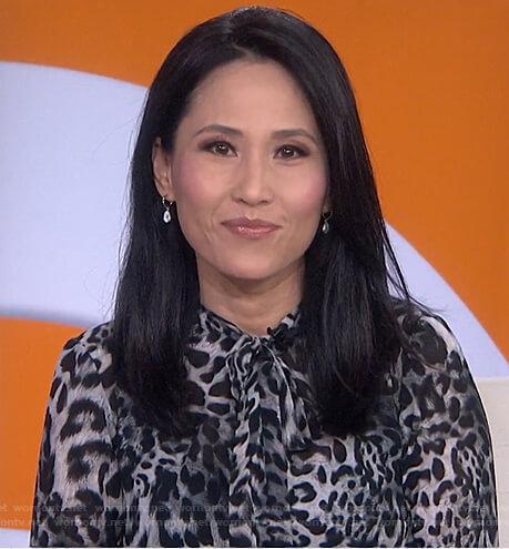 Vicky's grey leopard tie neck dress on Today