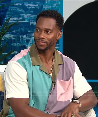 Victor Cruz's colorblock short sleeve shirt on E! News Daily Pop