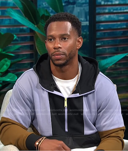 Victor Cruz's colorblock hoodie on E! News Daily Pop