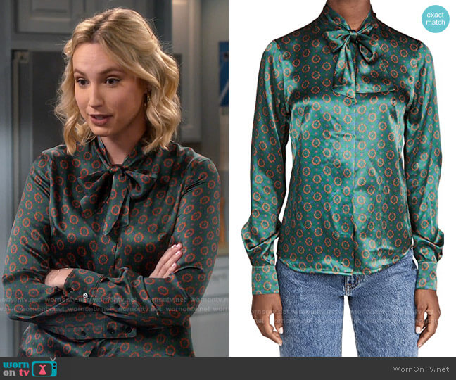 Victoria Beckham Tie Neck Blouse worn by Mandy Baxter (Molly McCook) on Last Man Standing