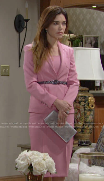 Victoria's pink dress and blazer on The Young and the Restless