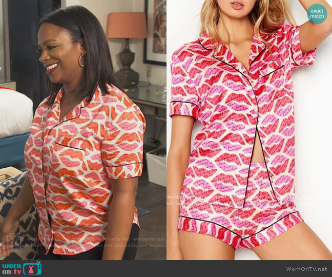 Lip Print Pajama Top by Victoria Secret worn by Kandi Burruss  on The Real Housewives of Atlanta