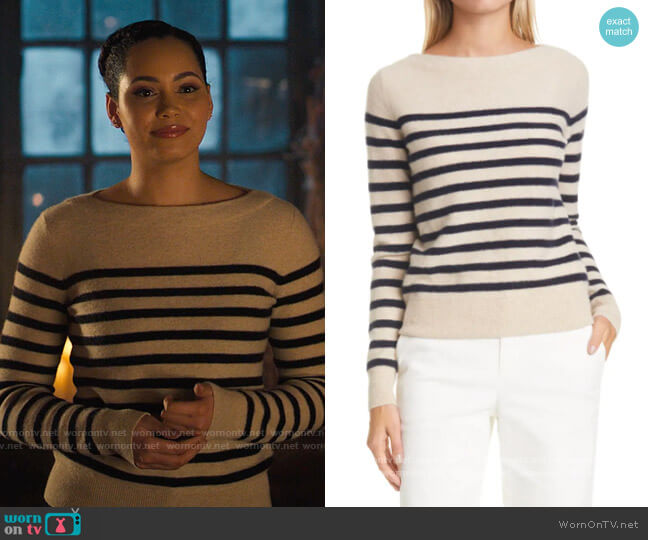 Vince Breton Boat Neck Stripe Cashmere Sweater worn by Macy Vaughn (Madeleine Mantock) on Charmed
