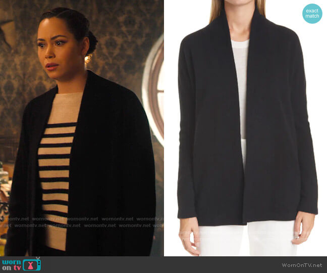 Vince Open Front Boiled Cashmere Cardigan worn by Macy Vaughn (Madeleine Mantock) on Charmed