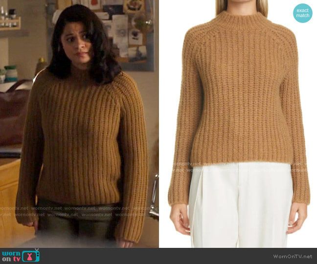Vince Marled Shaker Stitch Raglan Sleeve Sweater worn by Mel Vera (Melonie Diaz) on Charmed