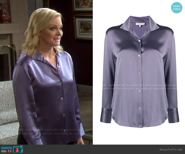 Button-Down Silk Blouse by Vince worn by Belle Brady (Martha Madison) on Days of our Lives