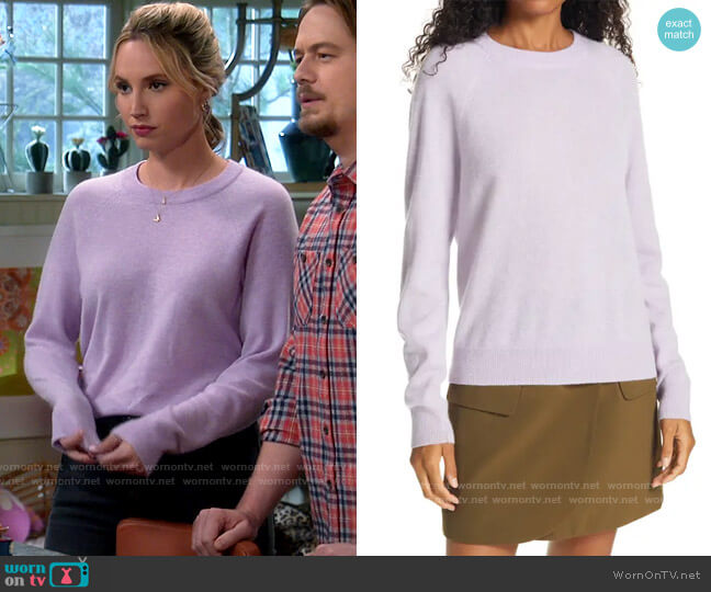Vince Raglan Cashmere Sweater worn by Mandy Baxter (Molly McCook) on Last Man Standing