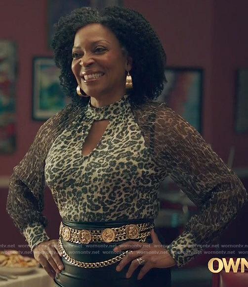 Violet's leopard print keyhole blouse on Queen Sugar
