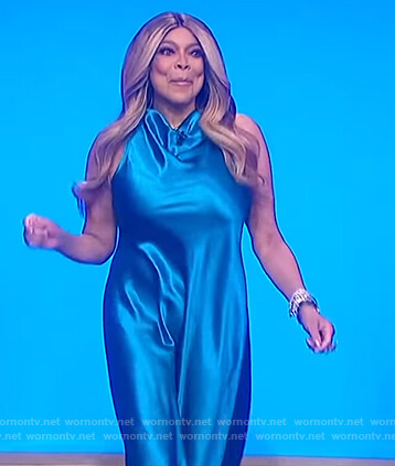 Wendy's blue satin cowlneck dress on The Wendy Williams Show