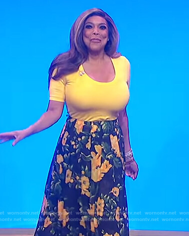 Wendy's yellow scoop neck top and floral skirt on The Wendy Williams Show