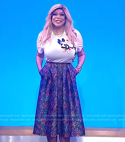 Wendy's white embroidered tee and floral skirt on The Wendy Williams Show