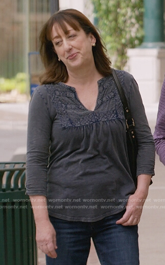Wendy's gray embroidered trim blouse
