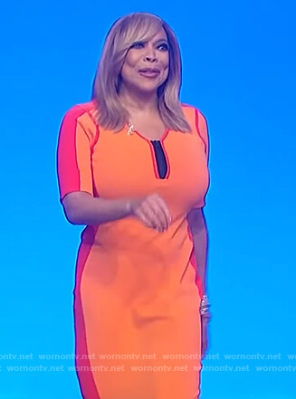 Wendy's two tone orange dress on The Wendy Williams Show