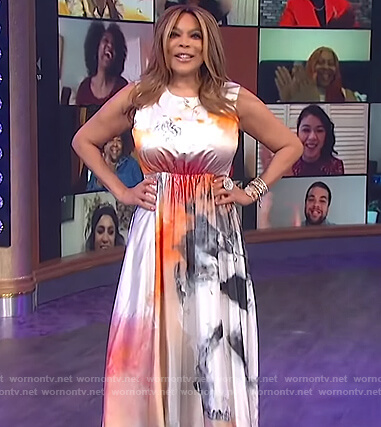 Wendy's sleeveless tie dye dress on The Wendy Williams Show