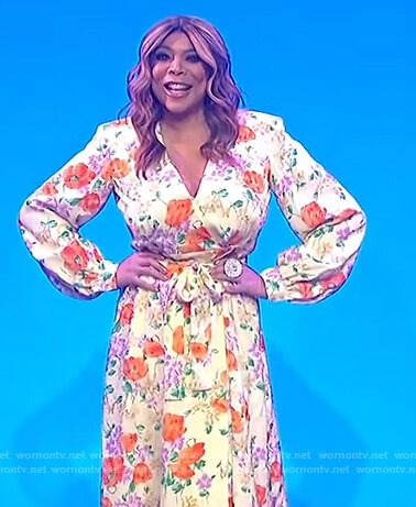 Wendy's yellow floral wrap dress on The Wendy Williams Show